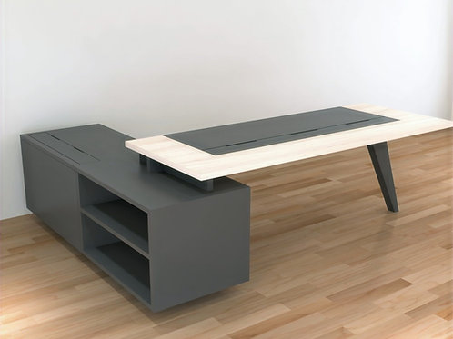 Salvadore Director's Table in Maple & Grey