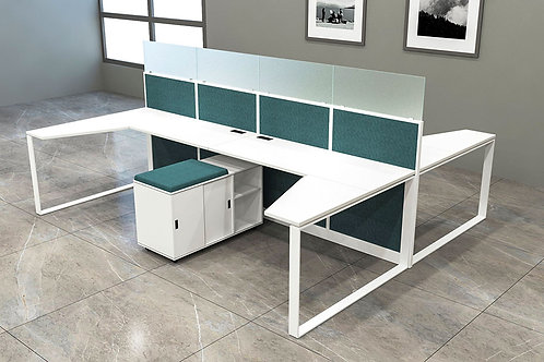 Alvaro Workstation in White and Ocean Blue