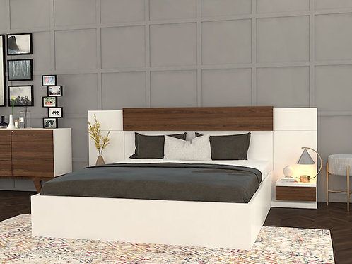 Domenico King Size bed with Bedside Tables and storage in Ivory Finish