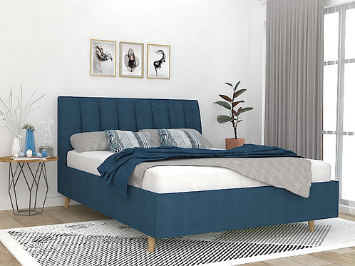 Amanda Queen Size Bed with Storage in Classic Denim
