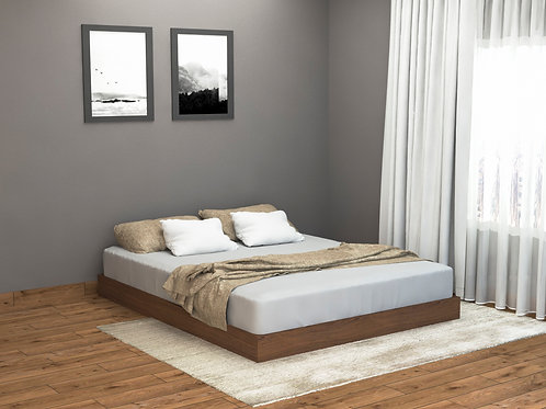 Freya Queen Size Bed in Natural Brown