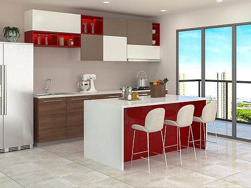 Kasiani Studio Kitchen in Red & White