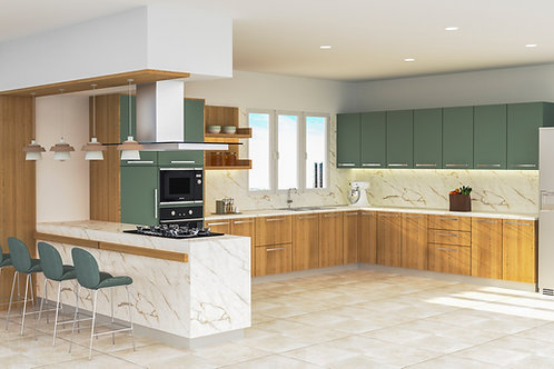 Karmina U Shaped Modular Kitchen in Garden Oak and Sage Green