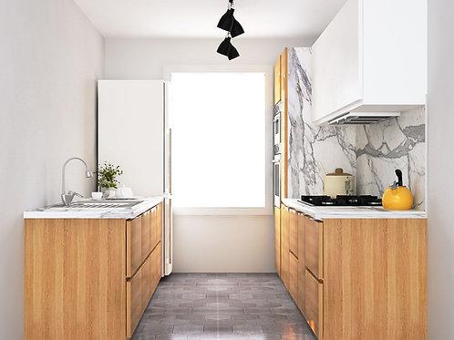 Agatha Studio Kitchen in Walnut and Turquoise