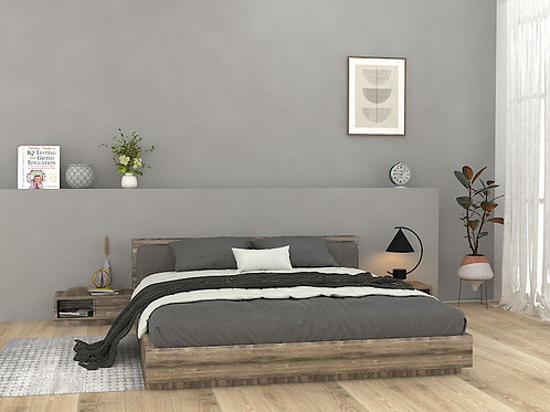 Catherine Queen Size Bed with side units in Textured Brown