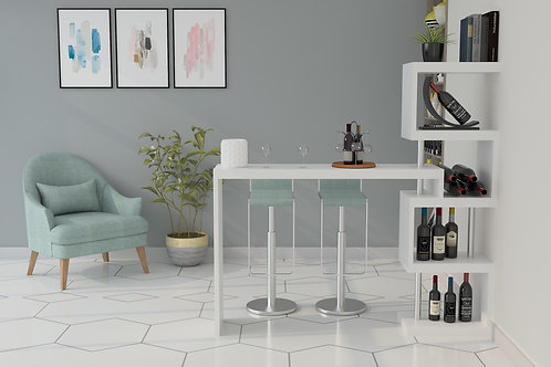 Aiden Bar Counter in White and Misty Surf