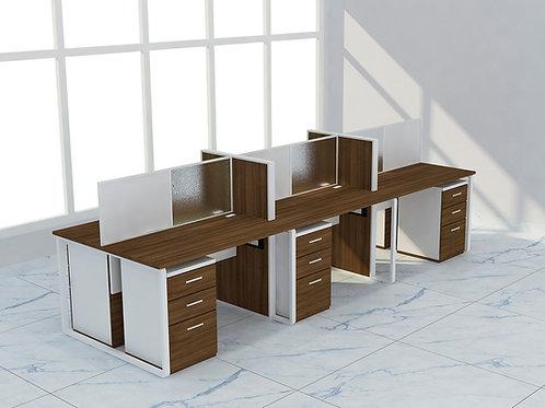 Leonel Workstation in Special Walnut (Set of Six)