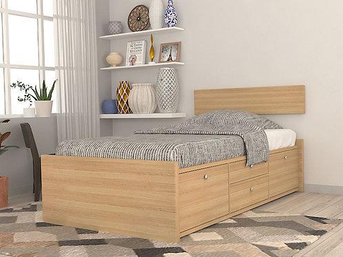 Karen Single Bed with Storage in Soft Oak
