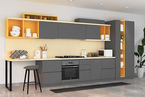 Irene Modular Kitchen in Grey & Yellow