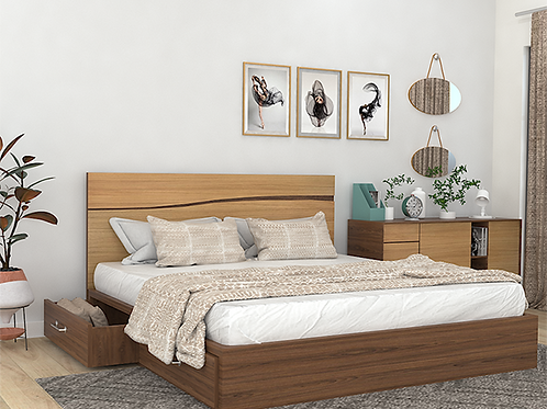 Barak Double Bed With Storage in American Walnut