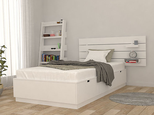Neo Single Bed with Storage in Classic Ivory