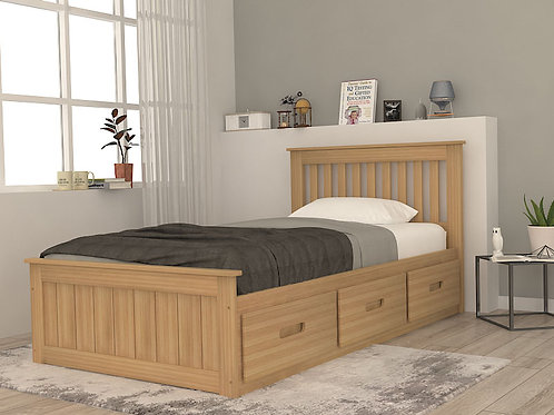 Odele Single Bed with Storage in White Pine