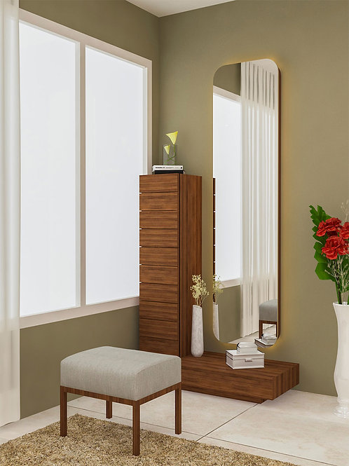 Antonella Dressing Table with Stool in Walnut finish