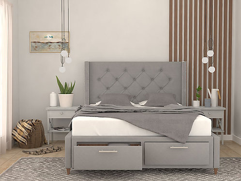 Martina Double Bed with Storage and Side Tables in Cloud Grey