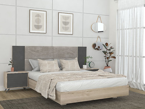 Julieta Queen Size Bed with side units in Textured White