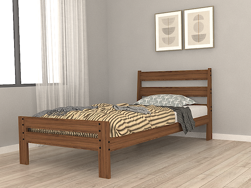 Madonna single bed in Natural Brown