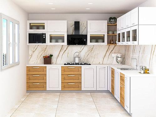 Molly L Shaped Modular Kitchen in White & Walnut