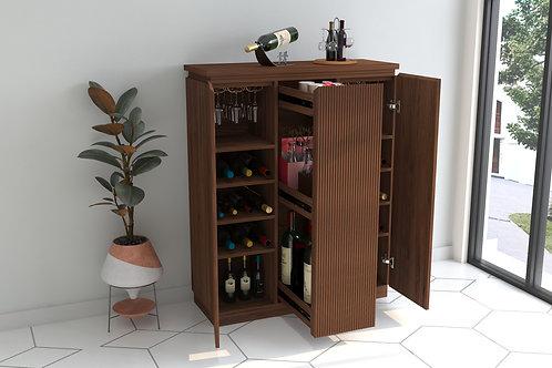 Falon Bar Cabinet in Pecan Brown