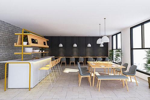 Rhone Canteen Furniture Complete Set in Birch & Grey
