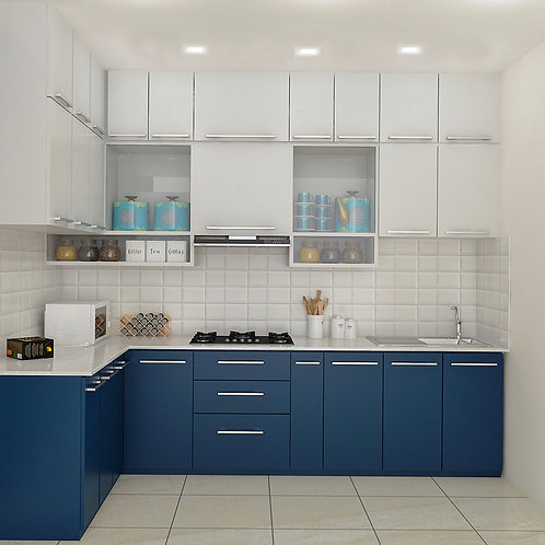 Marisa L shaped Modular Kitchen in Royal Blue & White