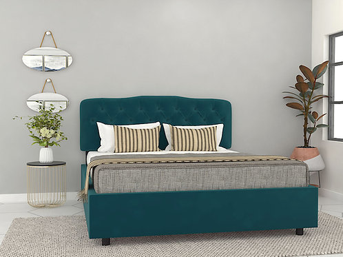 Andromeda Queen Size Bed with Storage in Prussian Blue
