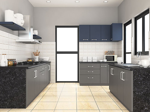 Marzia U Shaped Modular Kitchen in Metallic Grey