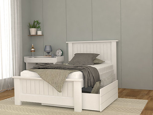 Jerry Single Bed with Storage in Marble White