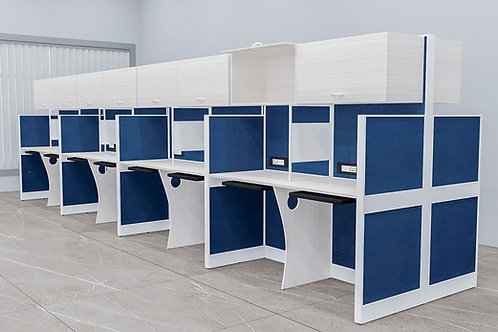 Gonzalo Workstation in White and Royal Blue (Set of Twelve)
