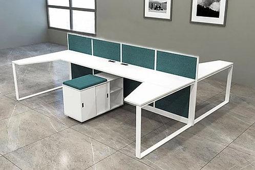 Alvaro Workstation in White and Ocean Blue (Set of Four)