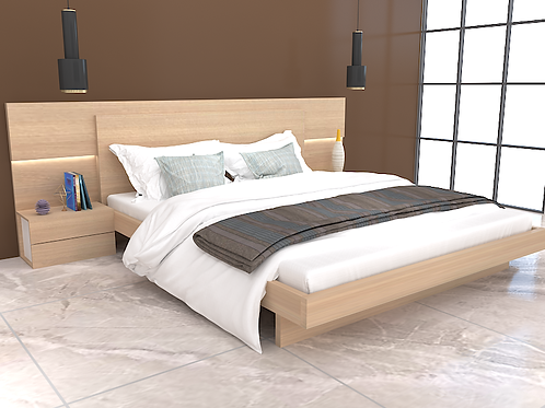 Alessia Double Bed with Two Bedside Tables in French Oak Finish