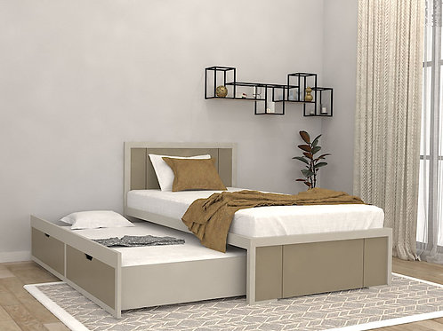 Orea Single Bed with Storage in Light Grey
