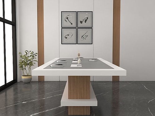Otello Conference Table in Ivory and Brown