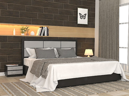 Aurora Double Bed with Storage in Dark Walnut
