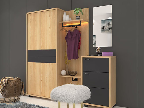 Emily Wardrobe With External Drawers In Blonde Pebble