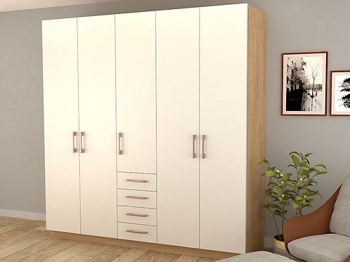 Leon 5 Door Wardrobe in White Cream