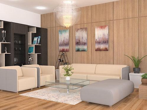 Carina Reception Sofa Set in Cream and Grey