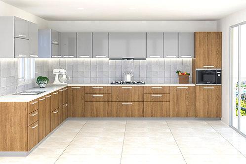 Junia L Shaped Modular Kitchen in Walnut