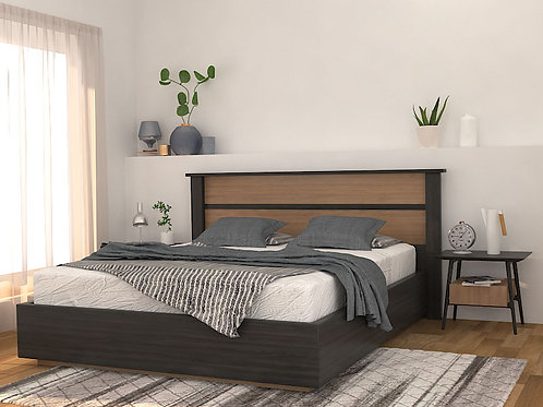 Valeria Double Bed with Storage in Black Walnut