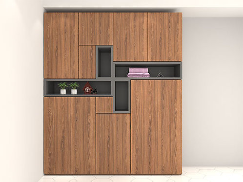 Sandro Multiple Door Wardrobe With Display Units In Copper Brown