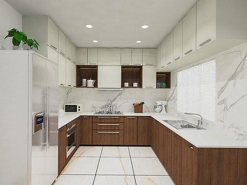 Oriana U shaped Modular Kitchen in Cherry finish