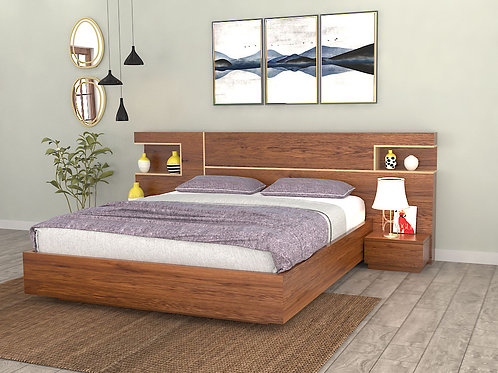 Adelina Queen Size bed with Bedside Tables and storage in American Walnut