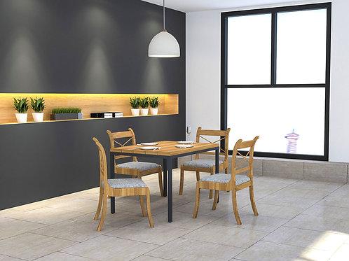 Turia 4 seater Canteen Furniture in Oak Finish
