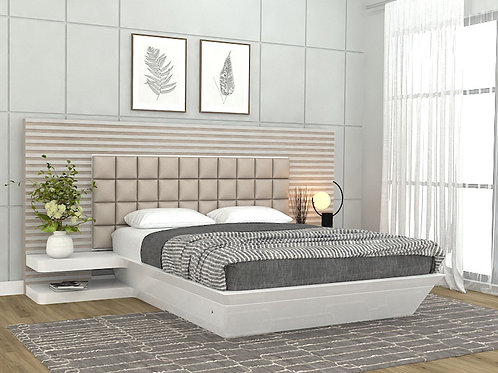 Helen Queen Size Bed in Natural Ash