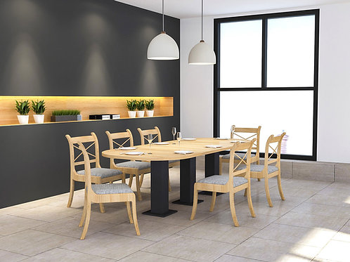 Turia 8 Seater Canteen Furniture in Oak Finish
