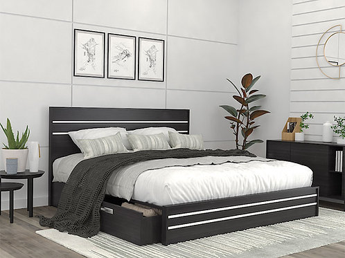 Moises Double Bed in White & Charcoal