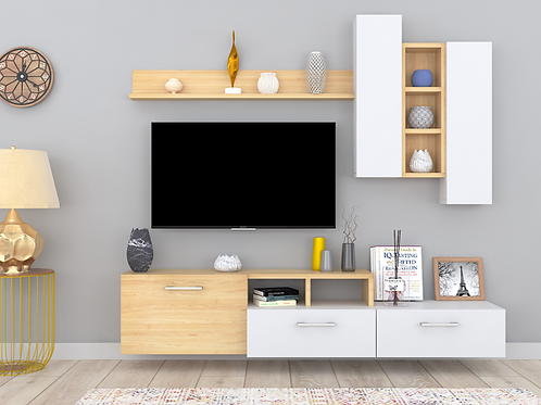 Elisa Wall Mounted TV Unit In Parmesan & Ivory