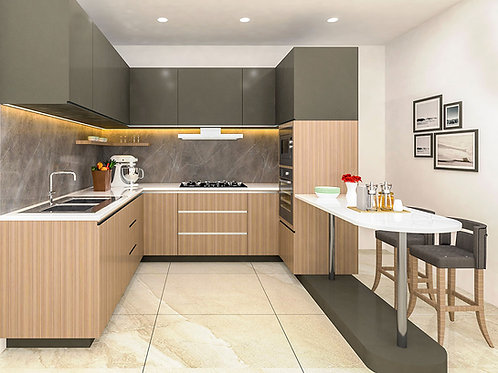 Stella U shaped Modular Kitchen in Tan & Umber