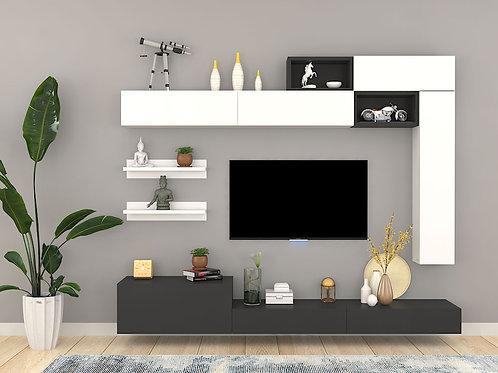 Apollonio Wall Mounted TV Unit In Vanilla & Wenge