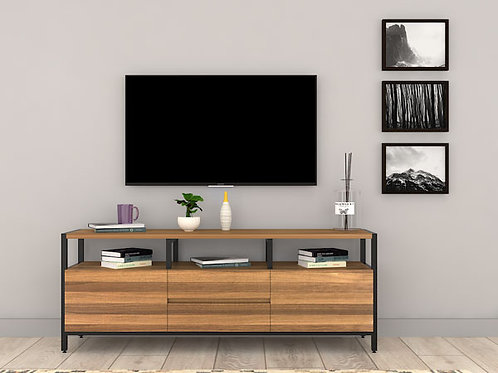 Dino Wall Mounted TV Unit In Honey Oats