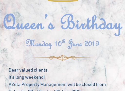 Queen's Birthday Public Holiday|10 June 2019